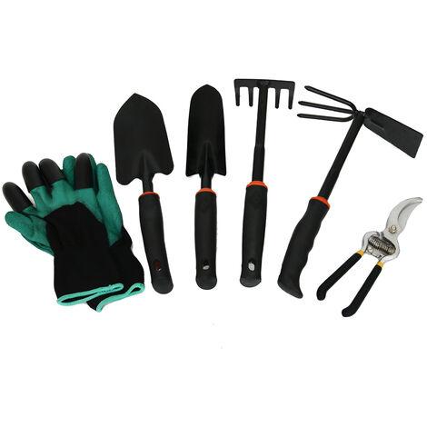 Herramientas de jardineria 6pcs mano del sistema de condensadores de ajuste de los guantes del kit de herramientas con trasplante garra Pala Rastrillo herramienta deshierbe Spade, Negro