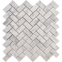 Herringbone Carrara Marble Polished Brick Tiles - 305x280x10mm