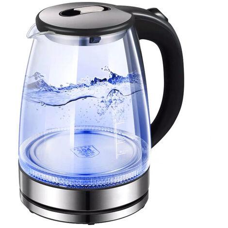 Hervidor electrico de vidrio, hervidor de vidrio inalambrico, termo electrico, taza de botella, hervidor de agua automatico con LED iluminado, enchufe de la UE 220 V, Transparente, enchufe de la UE