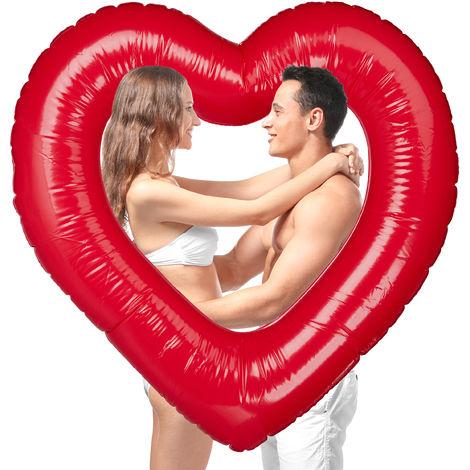 Herz Schwimmring, aufblasbarer Badering in Herzform, für Hochzeit & Valentinstag, als Deko oder Geschenk, rot