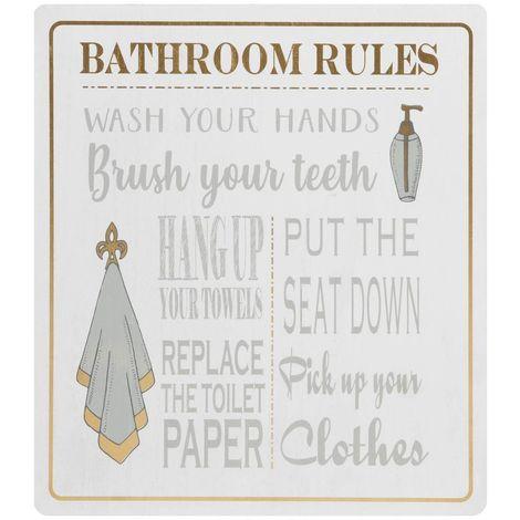 HESTIA� Bathroom Rules Wall Plaque