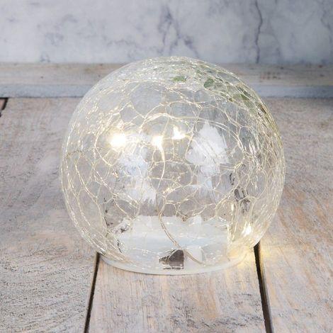 Hestia Clear Crackle Light Up Ball 9cm