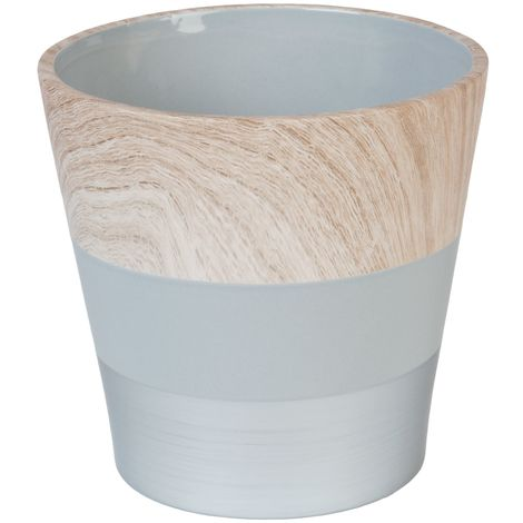 HESTIA� Concrete and Wood Effect Ceramic Planter 17cm