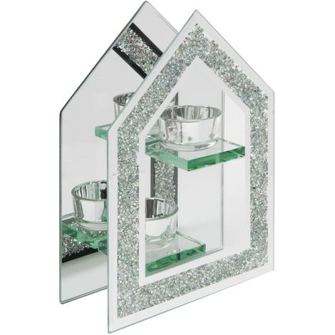 Hestia Crystal Border Glass Double Tealight Holder