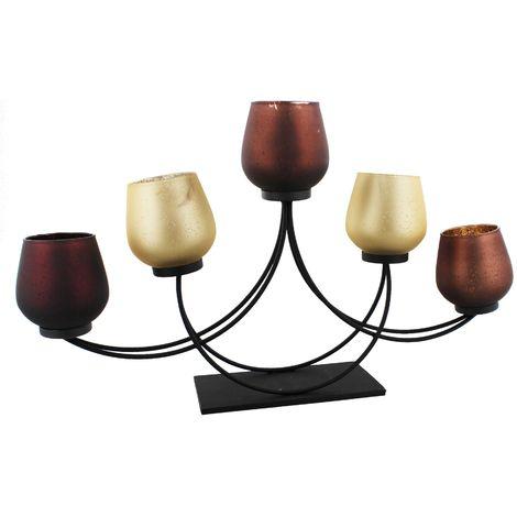 Hestia Glass & Metal 5 Brown & Cream T Lite Holders