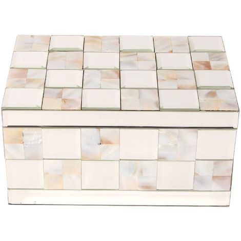 Hestia Glass Mirror Jewellery Box Mother Of Pearl