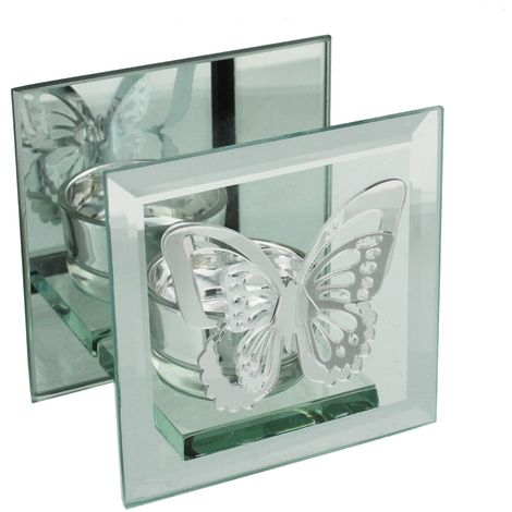 Hestia Glass & Mirror Square Single T-Lite Holder Butterfly