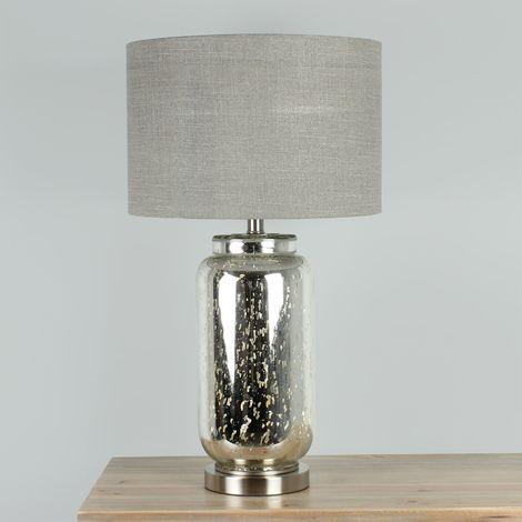 Hestia Glass Table Lamp w/ Metal Base & Beige Shade