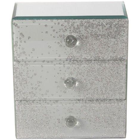 Hestia Grey & Glitter Glass 3 Drawer Jewellery Box