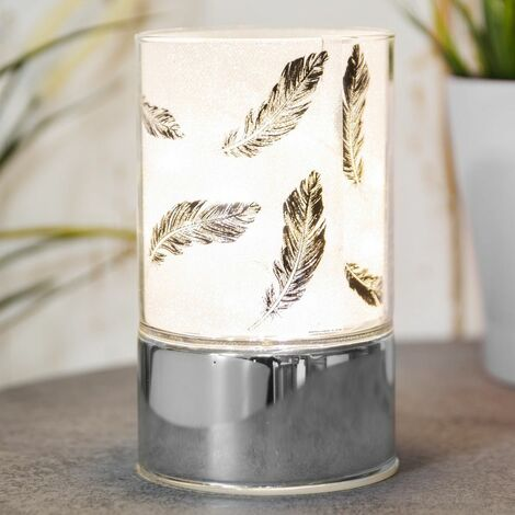 Hestia Home Collection LED Glass Tube Light with Black Feather Design Shade 15cm high