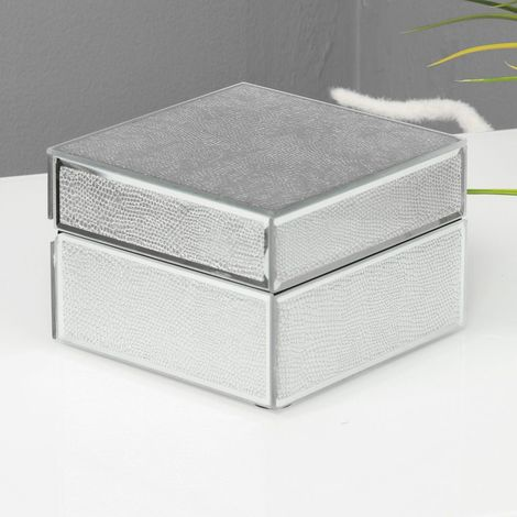 Hestia Mirror Glass Snakeskin Trinket Box