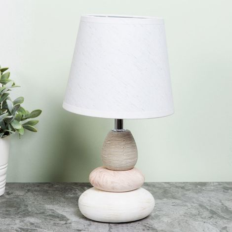 HESTIA Pebble Lamp with White Shade 15cm