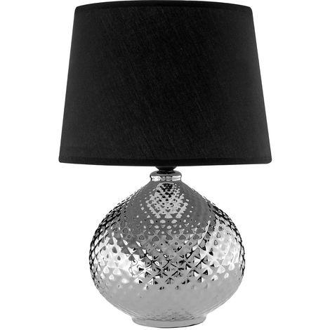 Hetty Table Lamp, Ceramic / Silver, Black Shade