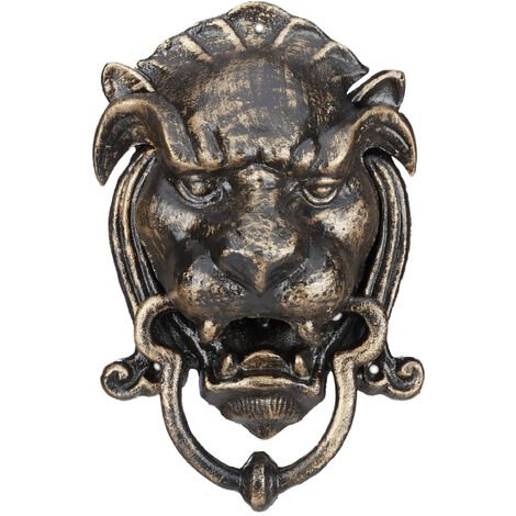 Heurtoir de porte lion antique sonnette carillon marteau de porte en fonte fer forgé porte entrée HxlxP: 25 x 16 x 11 cm, bronze