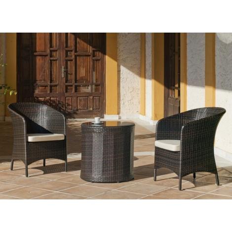 Hevea - Ensemble salon de jardin 2 fauteuils + table basse ronde en résine  tressée marron - SOFA ANDE