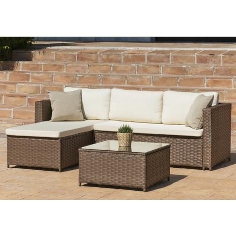 Hevea - Ensemble Salon de jardin table basse carrée + canapé 4 places en  résine tressée marron - CILIA