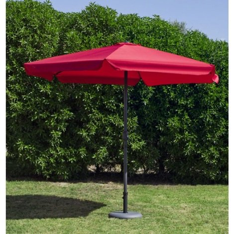 Hevea - Parasol rond 300 cm en toile rouge - ACAS30