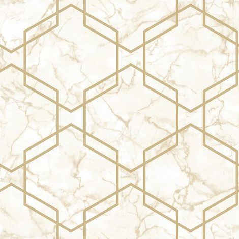 Hexagon Geometric Marble Wallpaper Beige Metallic Gold Silver Holden Decor