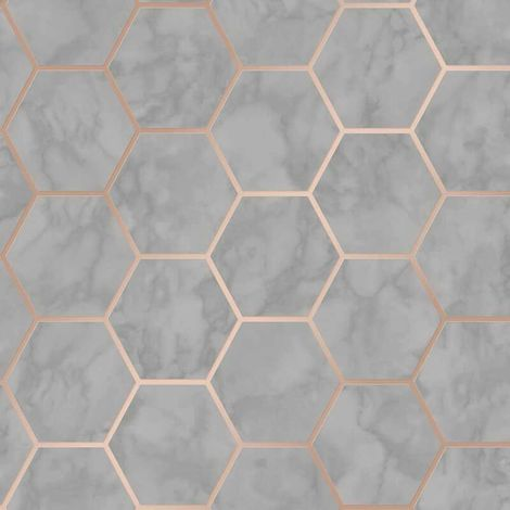 Hexagon Geometric Marble Wallpaper Kitchen Charcoal Rose Gold Metallic Vinyl