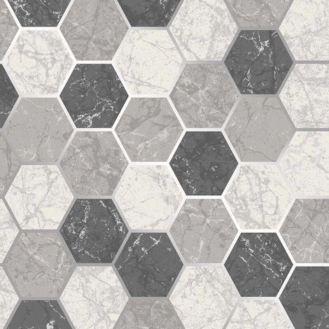 Hexagon Geometric Marble Wallpaper Kitchen Charcoal White Silver Metallic Vinyl