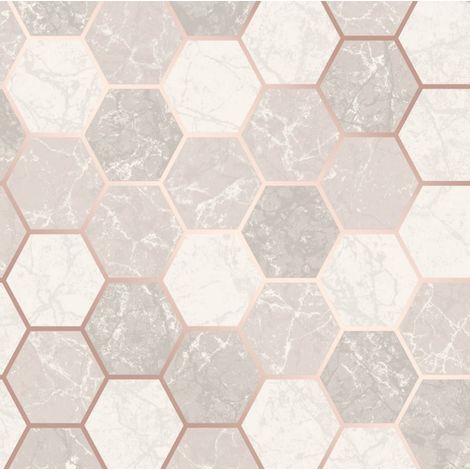 Hexagon Geometric Marble Wallpaper Kitchen Grey Rose Gold Metallic Vinyl Crown
