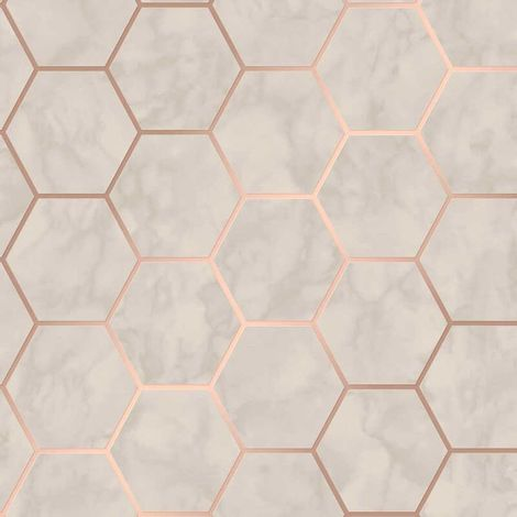 Hexagon Geometric Marble Wallpaper Kitchen Off White Rose Gold Metallic Vinyl