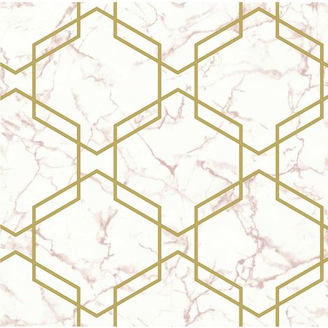 Hexagon Geometric Marble Wallpaper Pink Metallic Gold Silver Holden Decor