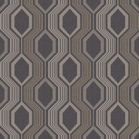 Hexagon Geometric Wallpaper Arthouse Charcoal Gold Metallic Shimmer Paste Wall