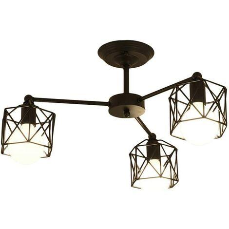 Hexagon Geometry Chandelier Creative Retro Ceiling Lamp Metal Cage Pendant Light for Living Room Bedroom Black(3 Heads)