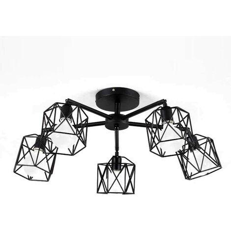 Hexagon Geometry Chandelier Creative Retro Ceiling Lamp Metal Cage Pendant Light for Living Room Bedroom Black(5 Heads)