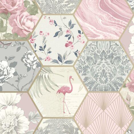 Hexagon Vintage Collage Wallpaper Geometric Blush Grey Cream Floral Gold Matt