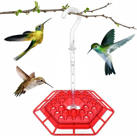 "main image of ""Hexagonal Hanging Hummingbird Feeder Garden Bird Feeder with Hook, Unique Design Feeding System, Red"""