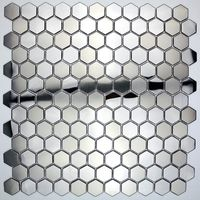 hexagonal metal mosaic mirror and brushed kitchen backsplash in-yuri