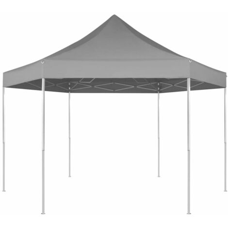Hexagonal Pop-Up Foldable Marquee Grey 3.6x3.1 m