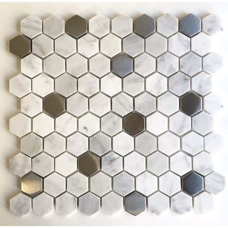 hexagonal tile mosaic floor and wall marble model NUNO