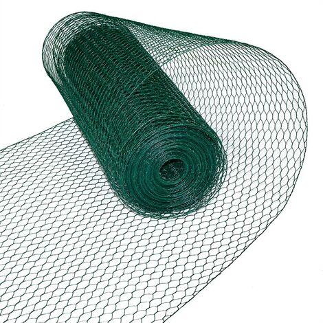 Hexagonale fil de volière de maille 0,50 x 25 m clôture de clôture verte 13 mm