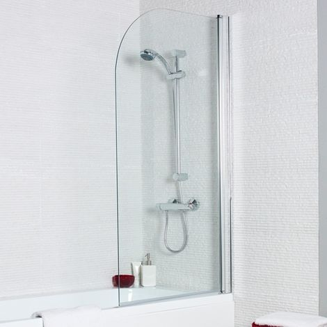 Hexenus Straight Curved Fixed Bath Shower Screen 1400 X 780