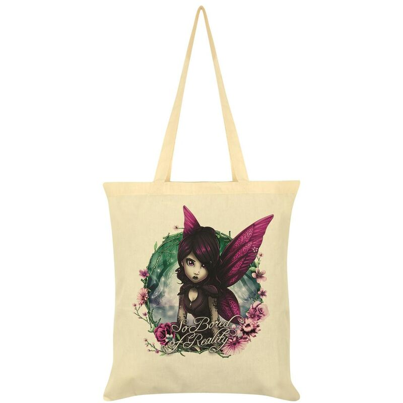 Image of Hexxie So Bored Of Reality Rose Tote Bag (One Size) (Cream)