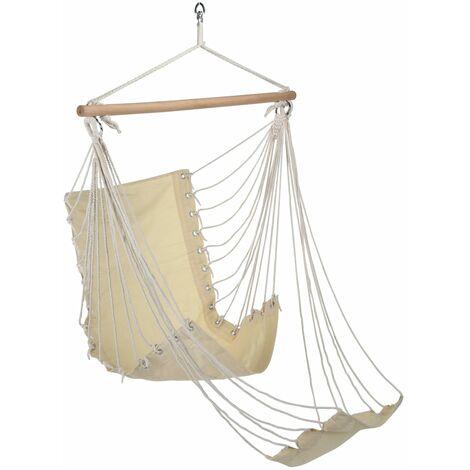 HI Chaise hamac avec repose-pieds Beige Toile de coton