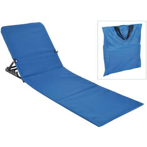 HI Chaise tapis de plage pliable PVC Bleu