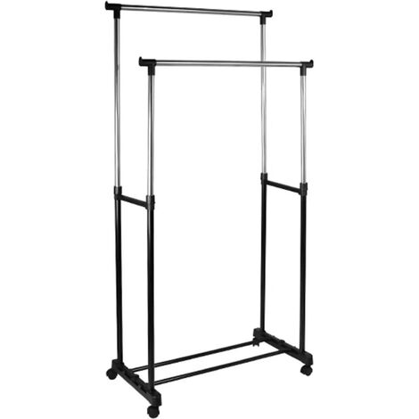 HI Double Garment Rack Black and Silver