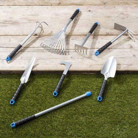 HI Ensemble d'outils de jardin 8 pcs Argenté Métal