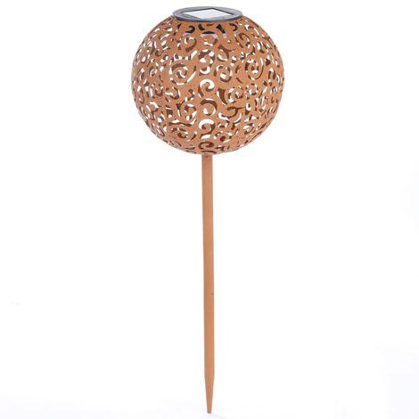 Hi Lámpara LED solar de jardín forma esférica metal marrón 18 cm - Marrón