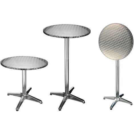 HI Mesa plegable de aluminio redonda tipo bistró 60x60x(58-115) cm - Plateado