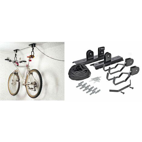 HI Support de plafond pour vélo Métal Noir