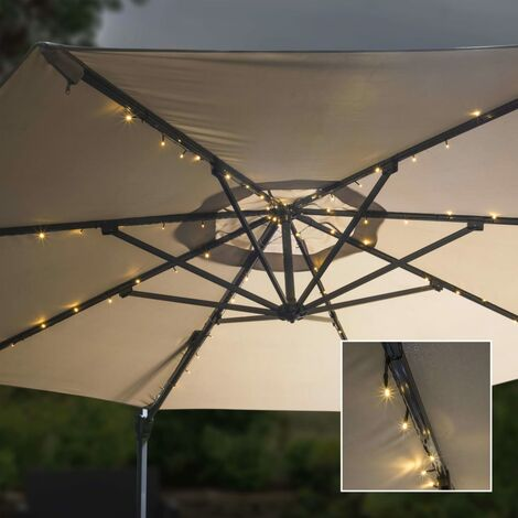 HI Tira de luces LED solares para sombrilla 130 cm - Blanco
