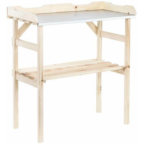 HI Wooden Planting Table 82x38x78 cm - Beige