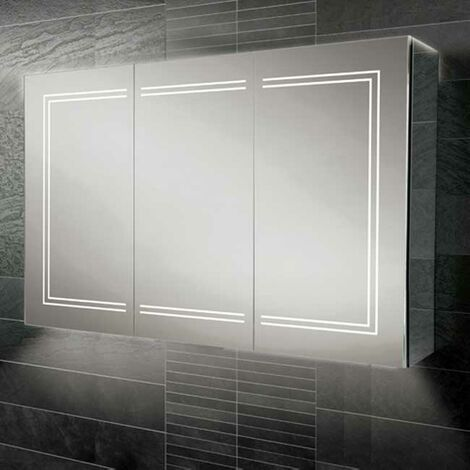 HiB Edge 120 Aluminium LED Triple Door Bathroom Cabinet 700mm H x 1200mm W x 140mm D