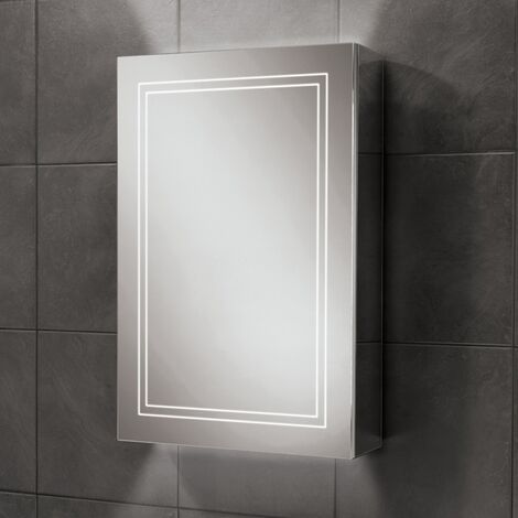 HiB Edge 50 Aluminium LED Single Door Bathroom Cabinet 700mm H x 500mm W x 140mm D