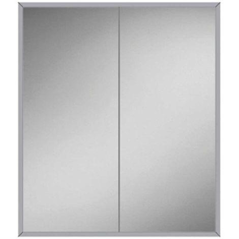 HiB Essence 60 Aluminium Double Door Bathroom Cabinet 730mm H x 630mm W x 125mm D